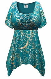 SOLD OUT! Customizable Teal With Gold Metallic Slinky Print Plus Size & Supersize Babydoll Top 0x 1x 2x 3x 4x 5x 6x 7x 8x