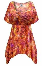 Customizable Orange Crackle Slinky Print Plus Size & Supersize Babydoll Top 0x 1x 2x 3x 4x 5x 6x 7x 8x