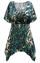 NEW! Customizable Black & Teal Animal Slinky Print Plus Size & Supersize Babydoll Top 0x 1x 2x 3x 4x 5x 6x 7x 8x