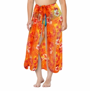 Orange Tropical Print Plus Size Sarong - Pareo Swimsuit Coverup - 1x 2x 3x 4x 5x 6x 7x 8x 9x