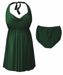 NEW! Dark Green Plus Size & Supersize Halter 2pc Swimdress 0x 1x 2x 3x 4x 5x 6x 7x 8x
