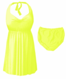 NEW! Neon Yellow Plus Size & Supersize Halter 2pc Swimdress 0x 1x 2x 3x 4x 5x 6x 7x 8x