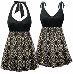 SOLD OUT! NEW! Customizable Black & Beige Victorian Print Halter or Shoulder Strap 2pc Plus Size Swimsuit/SwimDress 0x 1x 2x 3x 4x 5x 6x 7x 8x 9x