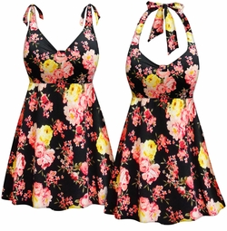 NEW! Customizable Neon Pink & Yellow Roses Halter or Shoulder Strap 2pc Plus Size Swimsuit/SwimDress 0x 1x 2x 3x 4x 5x 6x 7x 8x 9x