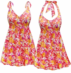 NEW! Customizable Warm Floral Print Halter or Shoulder Strap 2pc Plus Size Swimsuit/SwimDress 0x 1x 2x 3x 4x 5x 6x 7x 8x 9x
