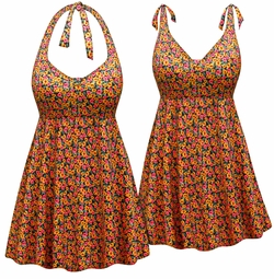 Customizable Pink & Yellow Delicate Floral Print Halter or Shoulder Strap 2pc Plus Size Swimsuit/SwimDress 0x 1x 2x 3x 4x 5x 6x 7x 8x 9x