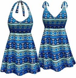 SOLD OUT! NEW! Customizable Blue Geometric Print Halter or Shoulder Strap 2pc Plus Size Swimsuit/SwimDress 0x 1x 2x 3x 4x 5x 6x 7x 8x 9x