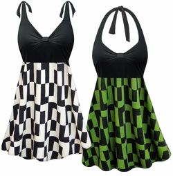 NEW! Customizable Geometric Print Halter or Shoulder Strap 2pc Plus Size Swimsuit/SwimDress 0x 1x 2x 3x 4x 5x 6x 7x 8x 9x