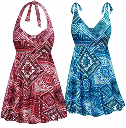 Customizable Wine & Neon or Ocean Abstract Print Halter or Shoulder Strap 2pc Plus Size Swimsuit/SwimDress 0x 1x 2x 3x 4x 5x 6x 7x 8x 9x