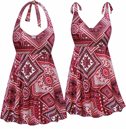 NEW! Customizable Wine & Neon Abstract Print Halter or Shoulder Strap 2pc Plus Size Swimsuit/SwimDress 0x 1x 2x 3x 4x 5x 6x 7x 8x 9x