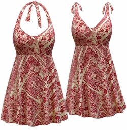NEW! Customizable Plus Size Crimson & Tan Floral Print Halter or Shoulder Strap 2pc Swimsuit/SwimDress 0x 1x 2x 3x 4x 5x 6x 7x 8x 9x