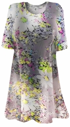 SOLD OUT! Semi-Sheer Beautiful Colorful Gray Floral Print Plus Size Coverup Tops or Dresses / Swimsuit Coverups Plus Size & Supersize  8x