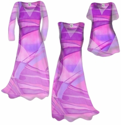 CLEARANCE! Semi-Sheer Pink Fucshia & Purple Geometric Plus Size Coverup Dress & Top / Swimsuit Coverups Overdress Plus Size & Supersize 1x