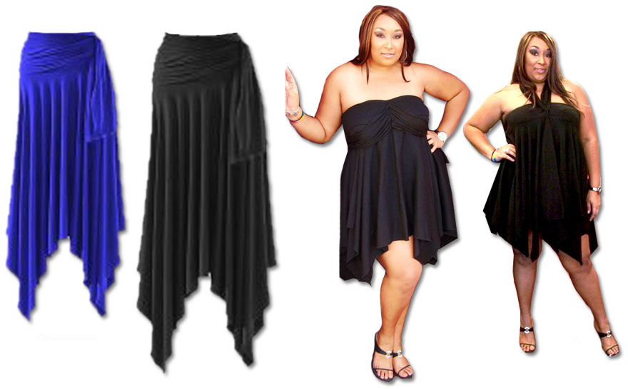 Sexy Slinky Handkerchief High Low Dresses Tops Skirts All Colors
