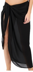 CLEARANCE! Sheer Black Plus Size Sarong - Plus Size Pareo Coverup 1x 3x