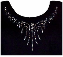 SALE! Silver or Gold Rhinestone Efflorescent Neckline Plus Size & Supersize T-Shirts S M L XL 2x 3x 4x 5x 6x 7x 8x