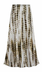 Customizable Plus Size Cream with Brown Ink Lines Slinky Print Skirts - Sizes Lg XL 1x 2x 3x 4x 5x 6x 7x 8x 9x