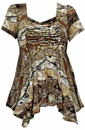 SOLD OUT! SALE! Slinky Plus Size Babydoll Tops! Brown Abstract Slinky 4x