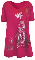 SOLD OUT!!1! Pretty Magenta & Silver Butterfly Plus Size T-Shirts