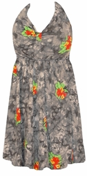 SOLD OUT!!!!!!!!!!!11Gray TieDye Floral Halter SwimDress Swimsuit  1X