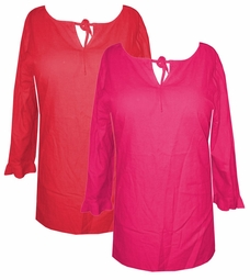SOLD OUT!!!!!!!!!!!!1CLEARANCE! Cute Fuschia Plus Size Front Tie Peasant Top with 3/4 Ruffle Trimmed Sleeves 0x 1x