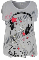 SOLD OUT!!1SALE! Pretty White Glitzy Musical Design Plus Size T-Shirts 2x 3x