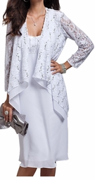 SOLD OUT!!!!!!!! 2pc White & Silver Sequins Plus Size Dress & Lacy Jacket 32w 34w 4x 5x