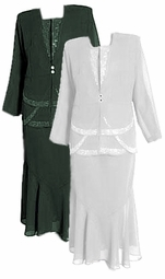 Sold Out!!!! 3-Piece Off-White - Black or Gray & Silver Rhinestone Plus Size Jacket, Top & Skirt Set XL 2x 3x 4x 5x
