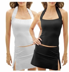 SOLD OUT!!!!!!!!!  533 CLEARANCE! Cute Plus Size Black Skirted Halter Tankini 24w/3x