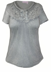 SOLD OUT!!!!!!! Adorable Gray Cotton Plus Size T-shirt with Collar Detail