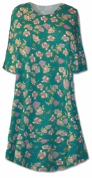 SOLD OUT!!!! Adorable Teal Floral Print Plus Size & Supersize T-Shirts 0x 1x
