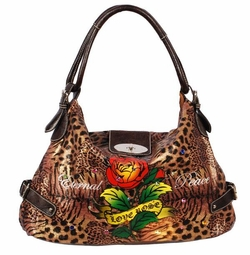 SOLD OUT! Animal Print Love Rose Tattoo Eternal Peace w/ Rhinestones Faux Leather Purse