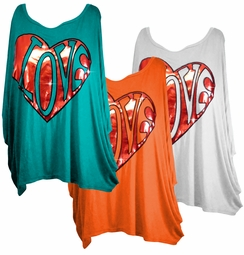 SOLD OUT!!!!!!! Aqua - Coral - White - Plus Size Love Shirts 2x