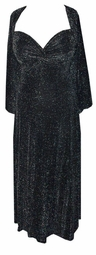 SOLD OUT!! Back for a Limited Time! 2 Piece Princess Seam Dress Set: Midnight Black with Silver Star Glimmer XL
