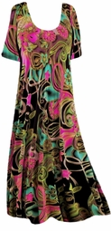 Sold Out!!! Beautiful Black Pink Blue Green Swirly Floral Plus Size & Supersize Customizable Shirts & Jackets Lg to 9x