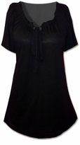 SOLD OUT!!!!!!!!!!Beautiful Black Ruffle Drawstring Neckline Top