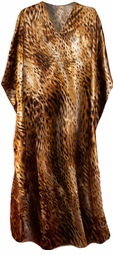SOLD OUT!!!Beautiful Brown Animal Print Poly/Satin Plus Size & Supersize Caftan Dress or Shirt 1x to 6x