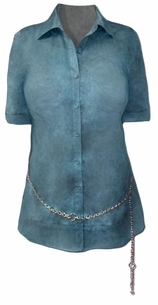 SOLD OUT!!!!!!!!!  Beautiful Lane Bryant Shirt Plus Size Button Down Blouse With Chain Belt 14/16  22/24