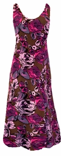 SOLD OUT!!!!!!!!!!!!Beautiful Pink and Brown Floral Slinky Plus Size & Supersize Princess Cut Dress  3x