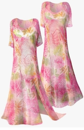 SOLD OUT!!!!! Beautiful Pink and Green Sheer Floral Princess Cut  or A-Line Plus Size & Supersize Dresses 1x 2x
