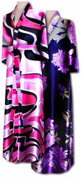 SOLD OUT! Beautiful Purple Floral Print Satin Plus Size Supersize Robes 5x