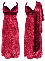 SOLD OUT! Beautiful Red - Fuschia - Magenta Tiedye Velvet & Spandex 2pc Princess Cut Dresses