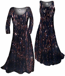 SOLD OUT!!!! Beautiful Sparkly Black & Bronze Glittery Plus Size & Supersize Standard or Cascading A-Line or Princess Cut Dresses & Shirts, Jackets, Pants, Palazzo's or Skirts Lg to 9x