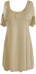 SOLD OUT! Beige Cotton Lycra Mock Button Top Short Sleeve Top