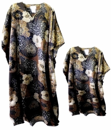SOLD OUT!!!!!!!!!!Black Brown & White Floral Print Poly/Satin Plus Size & Supersize Caftan Dress or Shirt 1x to 6x