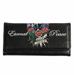 SOLD OUT! Black Edith Tattoo Print Eternal Love & Peace Synthetic Leather Wallet