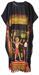 SOLD OUT!!!Black Egyptian Sequined Neckline Rayon Plus Size & Supersize Caftan Dress 1x to 6x
