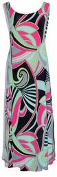 SOLD OUT! Black & Green Swirl Print Slinky Plus Size & Supersize Princess Cut Dresses 4x