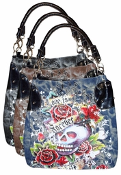 Sold Out! Black or Coffee Denim Tattoo Love is Forever Spirit Skull w/ Rhinestones Purse