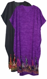 SOLD OUT!!!! Black or Purple Village Walk Georgette Plus Size & Supersize Caftan Dress 1x to 6x